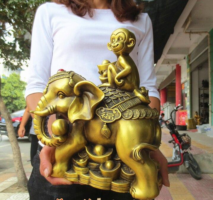 Bon-accueil bureau boutique affaires ART argent dessin bonne chance mascotte # asie du sud-est FU éléphant singe FENG SHUI laiton statue