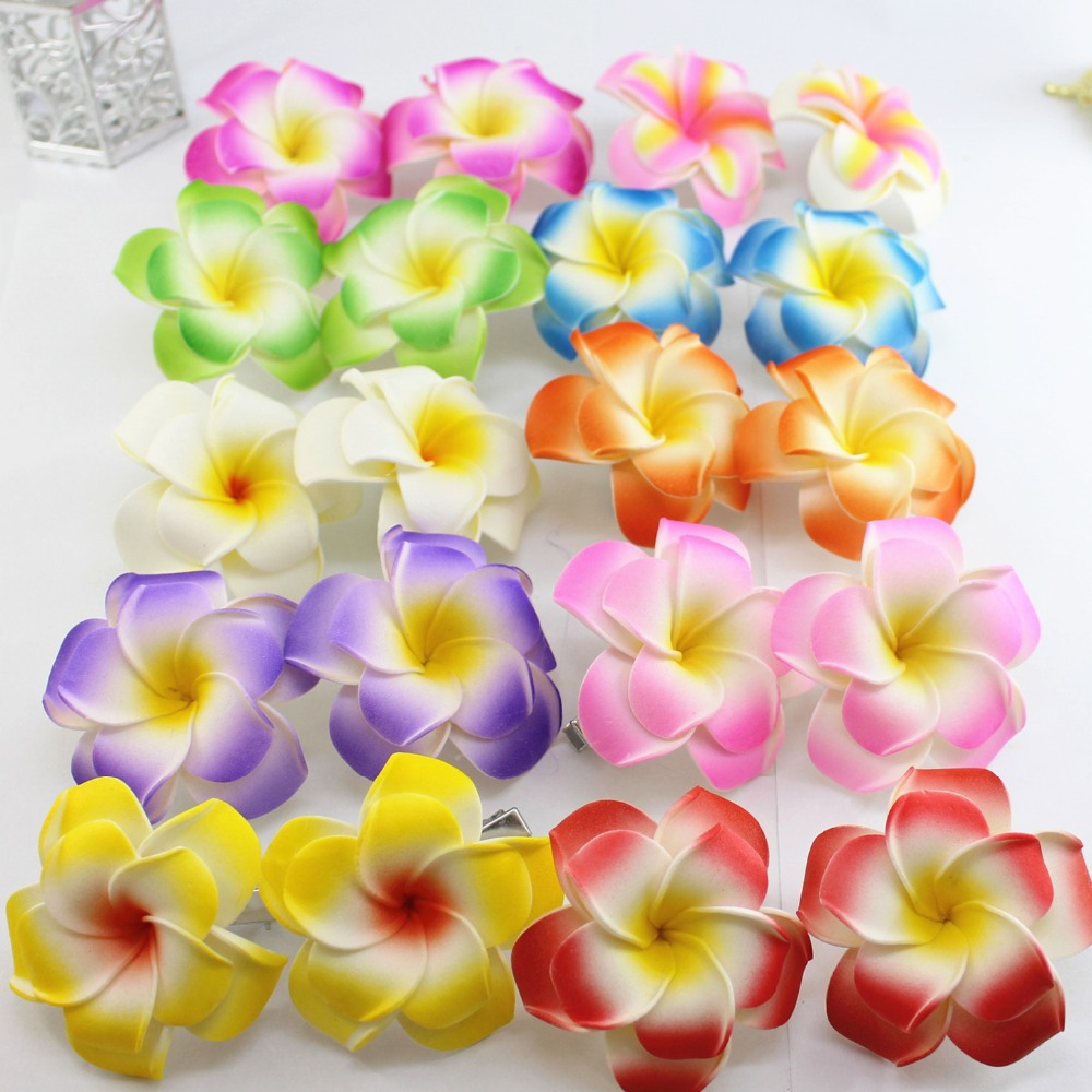 2017 popular brand new you pick 100 large double layer foam hawaiian 2017 popular brand new you pick 100 large double layer foam hawaiian plumeria flower frangipani flower bridal hair clip 6cm on aliexpress alibaba izmirmasajfo