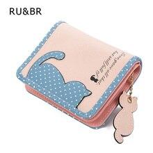 Hot New Fashion Design Women Wallet Qute Cat Pendant Ladies Purse Hit color Splice Zipper Short Clutch Coin Purse Card Holder