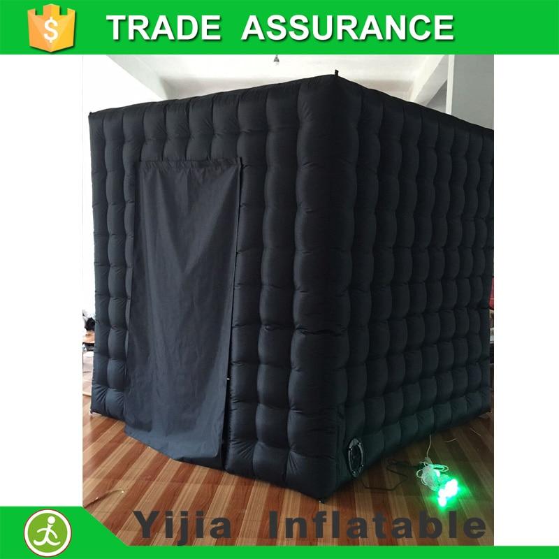 Il trasporto libero di oxford materiale gonfiabile photo booth colore nero photo booth scenografia