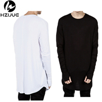HZIJUE 2017 Extended Man Mens Hip Hop Hiphop Swag Long Casual T Shirt Top Tees Justin Bieber Style Clothes Clothing