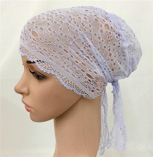 12 PCS Fashion Women Muslim Inner Cap  Lace Flower Hijab Islamic Headwear   Hat Wraps 5