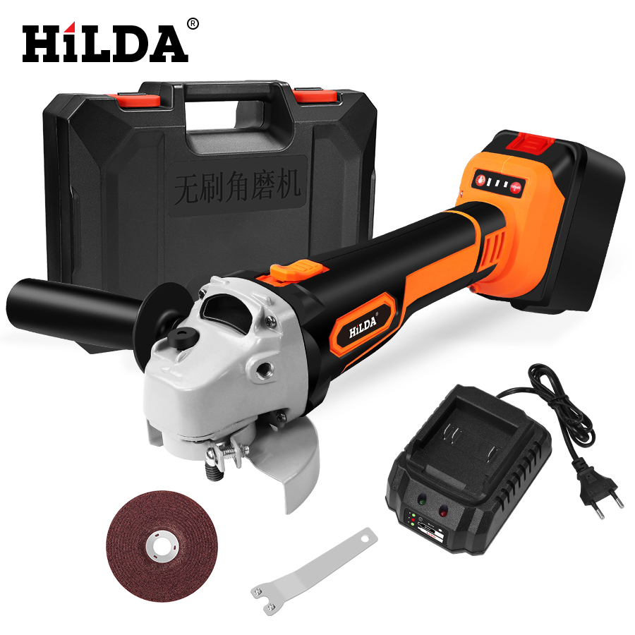 HILDA 21V Angle Grinder Cordless Lithium ion Grinding machine Brushless Cordless Electric grinder Angle Power Tools