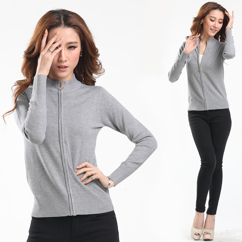 2017 New High Quality Zipper Cardigan Knitting Loose Coat Female Casual Solid Color Long Sleeve Sweater