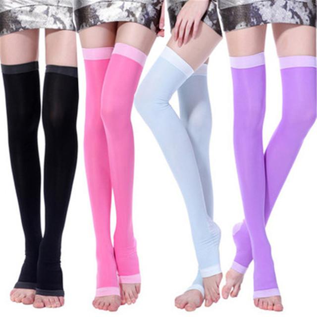 Dormir Sobre O Joelho de alta Qualidade Meias De Compressão Queimar Gordura Fina Meias Slimming Leg Beauty Magro Legging da Senhora