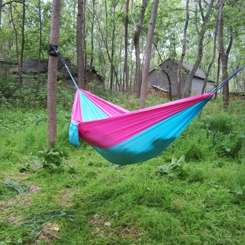 100pcs/lot Portable Double Person Parachute  Hamak Clamping Garden Furniture Hangmat Hommock 260*140CM Max Load 140KG ZA1072
