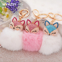 Lovely Fox Rabbit Fur Ball Fluffy Key Chains Rings Crystal Hot Sale Bag Pendant Keyrings KeyChains For Women Free Shipping