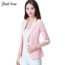 2017 Women Plaid Blazers & Jackets Spring Summer Three Quarter Sleeve Thin One Button Outerwear Short OL Blazer 3XL Feminino(China)
