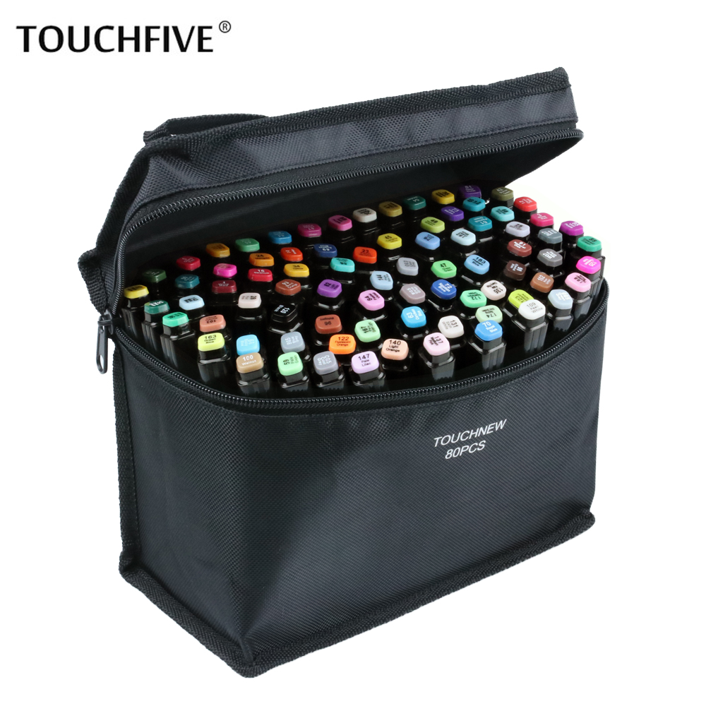 Touchfive 30/40/60/80 Colors Art Markers Alcohol Based Markers Drawing Pen Set Manga Dual Headed Art Sketch Marker Design Pens ...