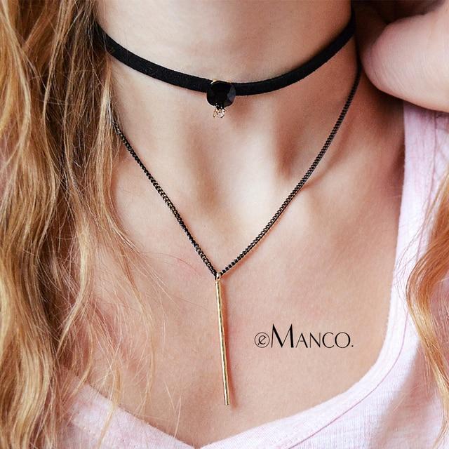 EManco layered colar gargantilhas mulheres popular gótico de couro preto colares tattoo com pedra de cobre pingente bijuteria
