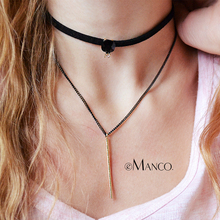 eManco layered chokers necklace women popular gothic black leather tattoo necklaces with stone copper pendant bijouterie