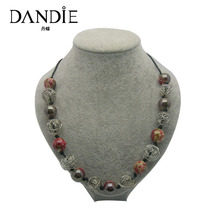 Dandie Ceramic Bead And Iron Wire Ball Necklace, Fashion Accessories, Female Jewelry