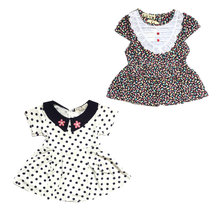 Baby Dress Baby Girl Clothes Cotton Short Sleeve Girls Dresses Kids Girl Lace Floral Dot Printed Dress Cute Kids Infant Clothing(China)
