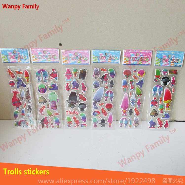 10 sheets/lot of trolls stickers 3D cartoon bubble stickers of trolls puffy stickers for kids birthday party present gifts