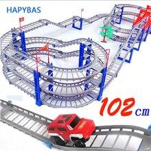 140pcs supper big DIY Assemb Slots Off-road Vehicle 3D Electric Rail Car 3Layers Slot Kit Spiral Track Roller Coaster Child Gift