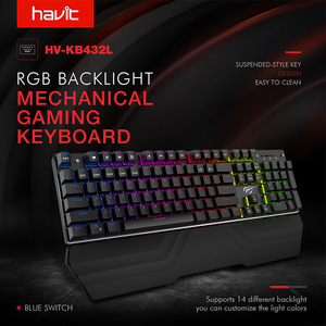 "Image 2 - HAVIT מכאני מקלדת 87/104 מפתחות כחול או אדום מתג משחקי מקלדות לוח שולחני רוסית/ארה""ב מדבקה"