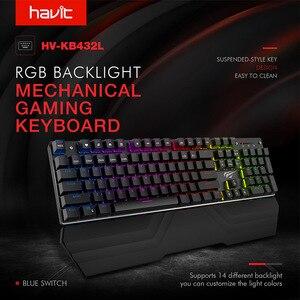 Image 2 - Havitメカニカルキーボード87/104キー青または赤スイッチゲーミングキーボードタブレットデスクトップロシア/米国ステッカー