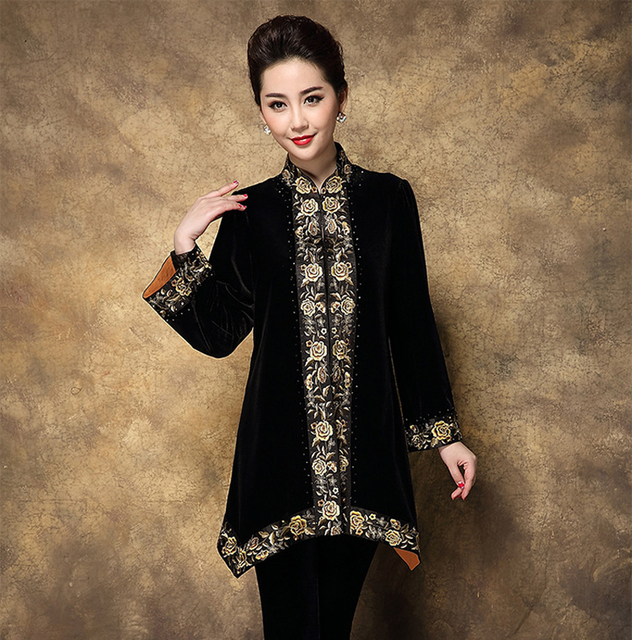 Hot Sale Vintage Chinese Women's Silk Satin Embroidery Jacket Coat Long  Sleeves Flowers Size S M L XL