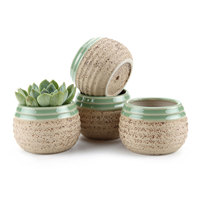 T4U 3 Inch Clay Glazed Stripe Oblate succulent Cactus Plant Pot Flower Pot/Container/Planter Beige Package 1 Pack of 4