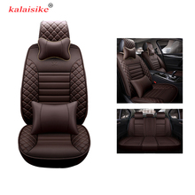 kalaisike high quality leather universal car seat covers for mazda Volkswagen Renault Hyundai Kia SEAT Ford Toyota Car styling universal car seat cover fiber linen front cushion 3d car styling seat covers automobiles for toyota for hyundai 1pcs 3 colored