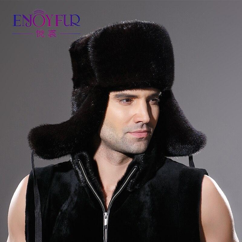 Hiver chaud réel entier vison fourrure chapeau pour homme oreille protecteur casquette excellente qualité beau travail chapeau nouveauté