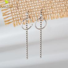 Flyleaf 925 Sterling Silver Earrings For Women Vintage Circle Chain Small Ball Long Tassel Drop Simple Earings Fashion Jewelry