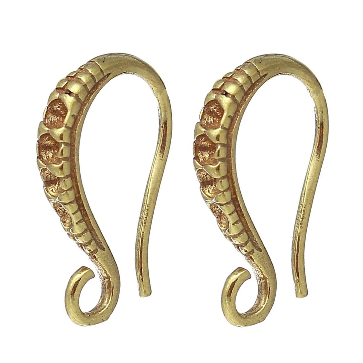DoreenBeads Copper Earring Components Hooks U-shaped Brass Tone(Fits ss4 Rhinestone)13mm(4/8)x 8mm(3/8),20 Pairs