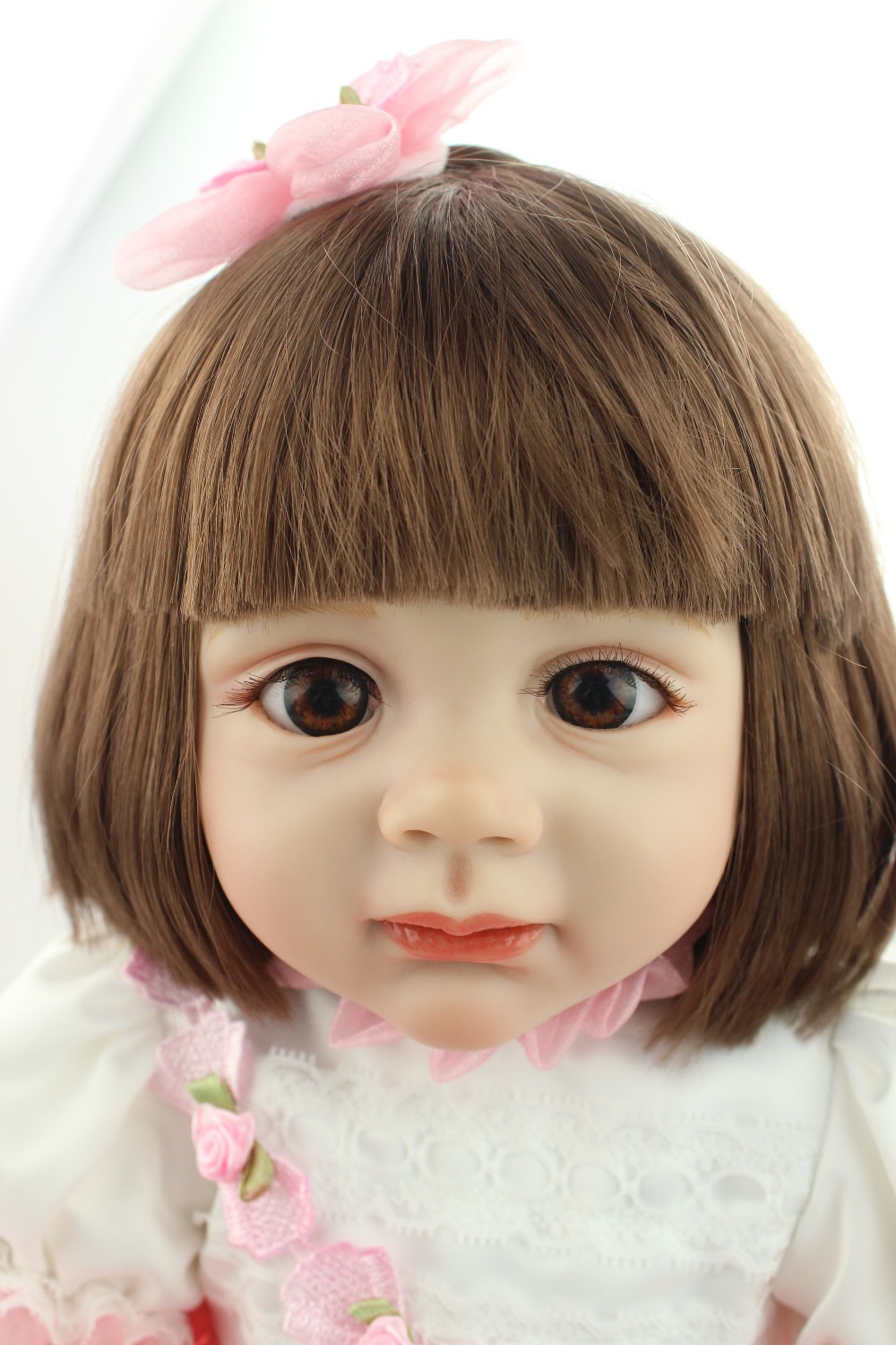 2015 new design 24inch Reborn Toddler baby doll rooted human hair  Fridolin lifelike sweet girl real gentle touch new arrived 55 60cm silicone reborn baby dolls fridolin sweet girl real gentle touch rooted human hair with pink dress newyear