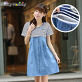 Striped Cotton Denim Maternity Dress Pregnancy Clothes for Pregnant Women Nursing Clothes Breastfeeding Clothing for Feeding