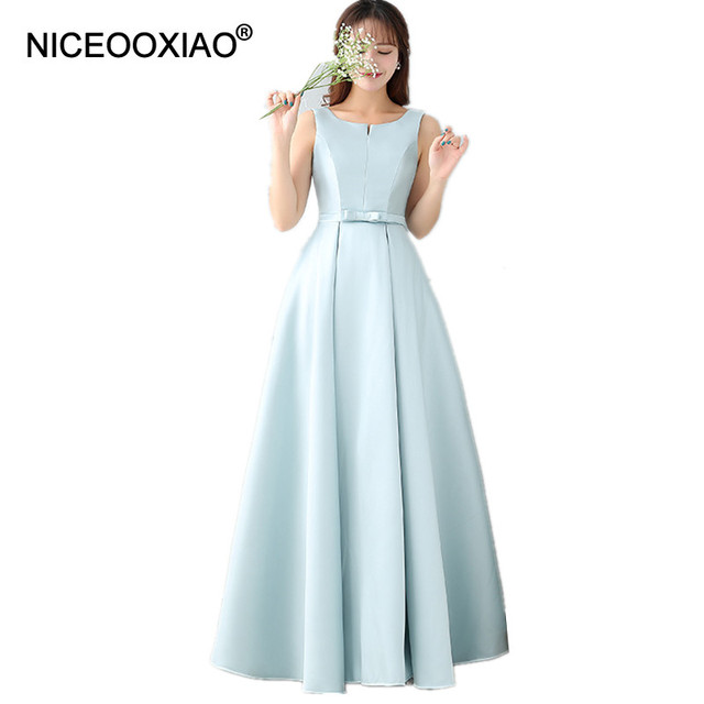 5b1acb4457e31 NICEOOXIAO Elegant Padded Long Satin Evening Robe 2019 Light Blue Simple  Style Party Occasion Dresses Formal