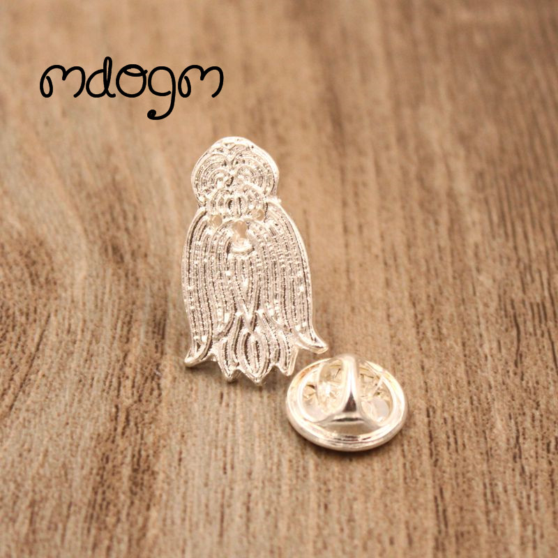 Mdogm 2018 Shih Tzu Dog Animal Brooches And Pins Wholesale Suit Cute Funny Metal Small Collar Badges Gift For Male Men B131