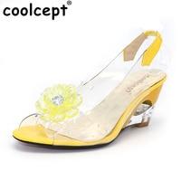 Coolcept Boyutu 34-43 Fabrika Fiyat Roma şık yüksek kalitede moda kama topuk sandalet elbise ayakkabı bayanlar sandalet PA00892