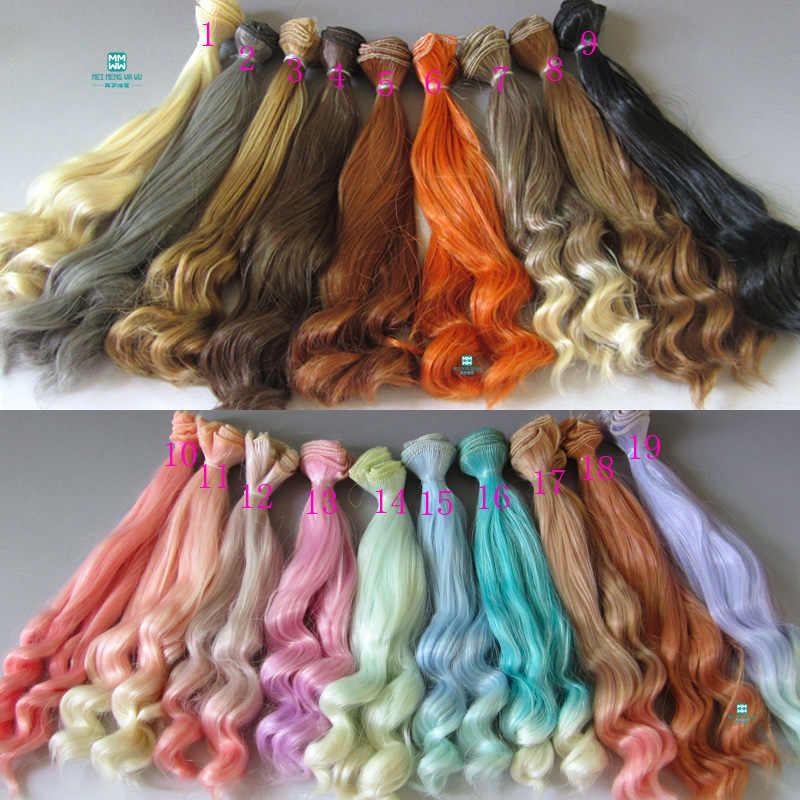 20cm*100cm Doll wig Large wave curls hair for doll fits 1/3 1/4 bjd doll golden \ brown and other colors