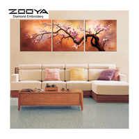 5D DIY Diamond Painting Diamond Painting Cross Stitch Beautiful Landscape Peach Tree 3pcs Needlework Home Decorative