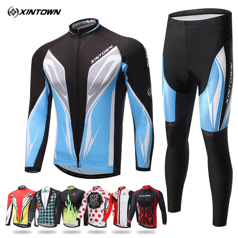 XINTOWN Newest Men Cycling Jerseys Sets Ropa Ciclismo Cycle Clothes Long Sleeve Jerseys Sets Bicycle Sportswear Cycling Clothing xintown men s cycling clothing bike ropa ciclismo suit bicycle jerseys