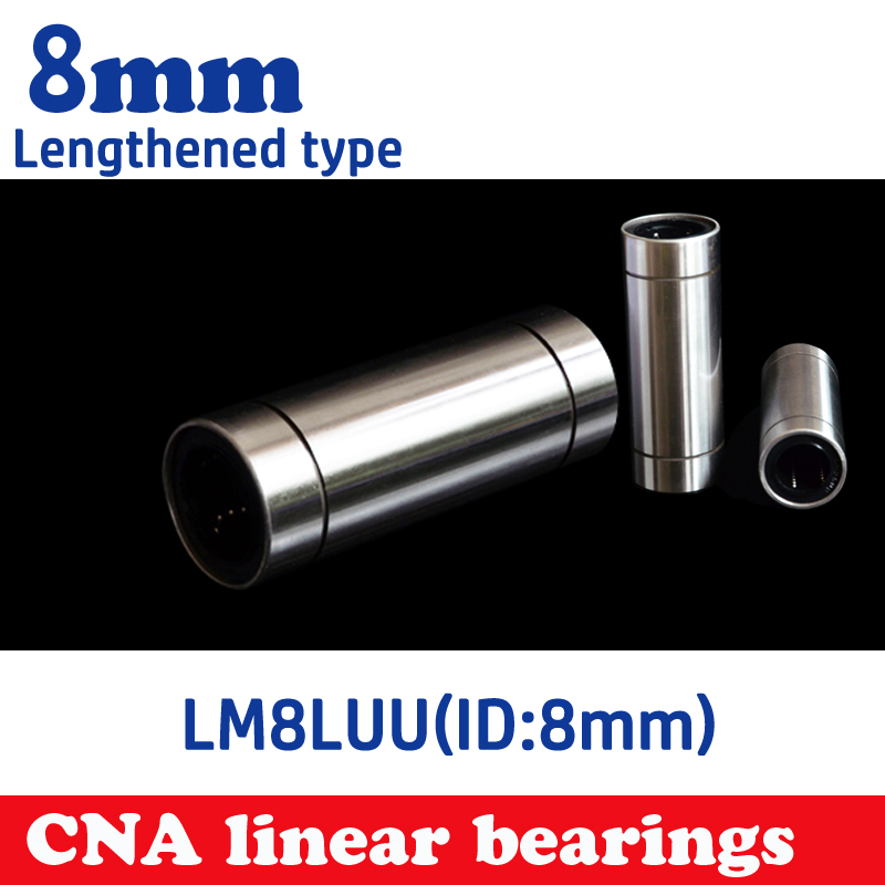 free shipping 10 pcs/lot LM8LUU 8mm Longer Linear Ball Bearing Bushing Linear Bearings CNC parts 3d printer parts LM8L free shipping 4pcs lot sc8uu scs8uu 8mm linear motion ball bearing slide bushing block for 3d printer parts cnc xyz table parts