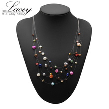 Real natural freshwater pearl necklace wedding for women,fashion silver jewelry multi color