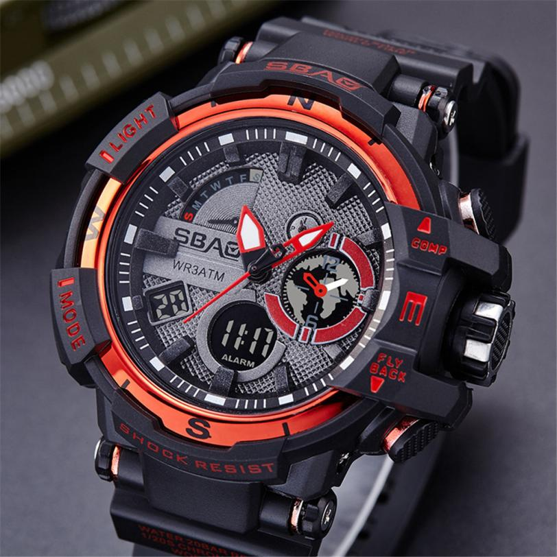 New Men Sports Watches Big Dial Quartz Digital Dual Display Watch For Men Luxury Brand LED Military Waterproof Men Wristwatch #C longbo men military watches complex big dial leather strap wristwatch male outdoor sports quartz watch life waterproof uhren men