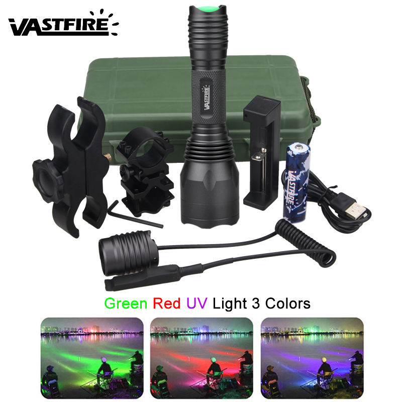 Tactical Red//Green Light LED Flashlight 1/'/' Picatinny Rail Hunting Scope Mount