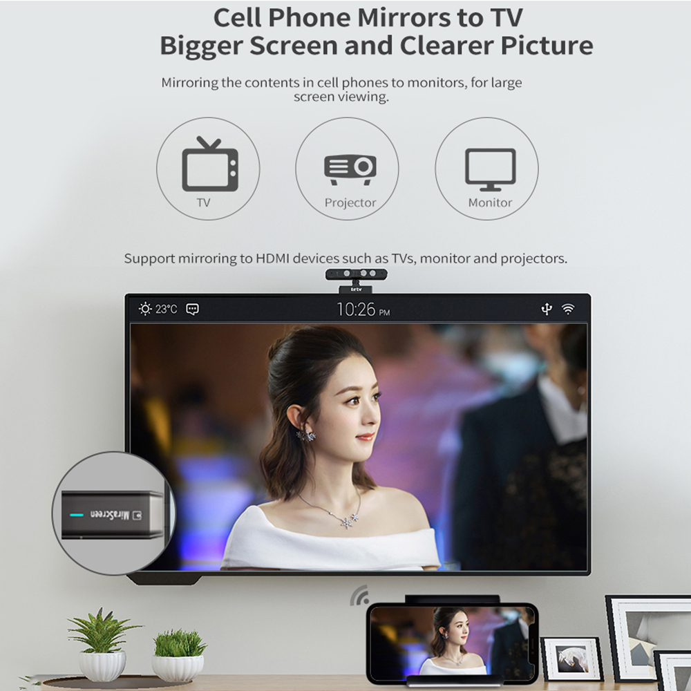 Image 5 - Mirascreen D8 Wifi 2.4G/5G Display Tv Dongle 1080P Miracast Airplay Dlna Mirroring To Hdtv For Phone Ios Android-in TV Stick from Consumer Electronics