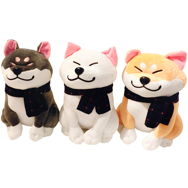 1pc 25cm Wear Scarf Shiba Inu Dog Japanese Doll Toy Doge Dog Stuffed Soft Animal Toys Plush Cute baby children's Gift for kids creative akita dog shiba inu plush toys imitation dog doll cartoon birthday gift 40 60cm