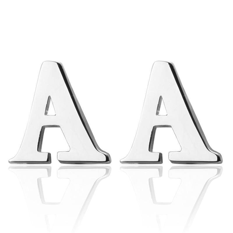 DoreenBeads Alloy Silver Fashion Cufflinks Letter A Style Creative Concise Gift For Men Boy Vintage Cuff Link Casual,1 Pair