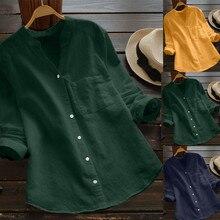 Female Blouse 2019Top Women Cotton linen Casual Solid Long Sleeve Shirt Button Down Tops