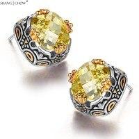 2017 neue Modeschmuck 4 golden dragon claw für Gelb quarzstein 925 Sterling Silber Ohrringe E0411