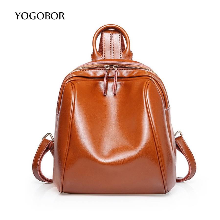 YOGOBOR Fashion Genuine Leather Women Backpack High Quality Famous Brand Preppy Style Small Women School Bag