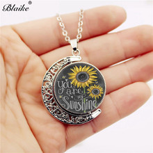 Blaike You Are My Sunshine Hollow Vintage Silver/Copper Sunflower Moon & Sun Pendant Clavicle Sweater Chain Necklace For Women vintage cross anchor sweater chain for women