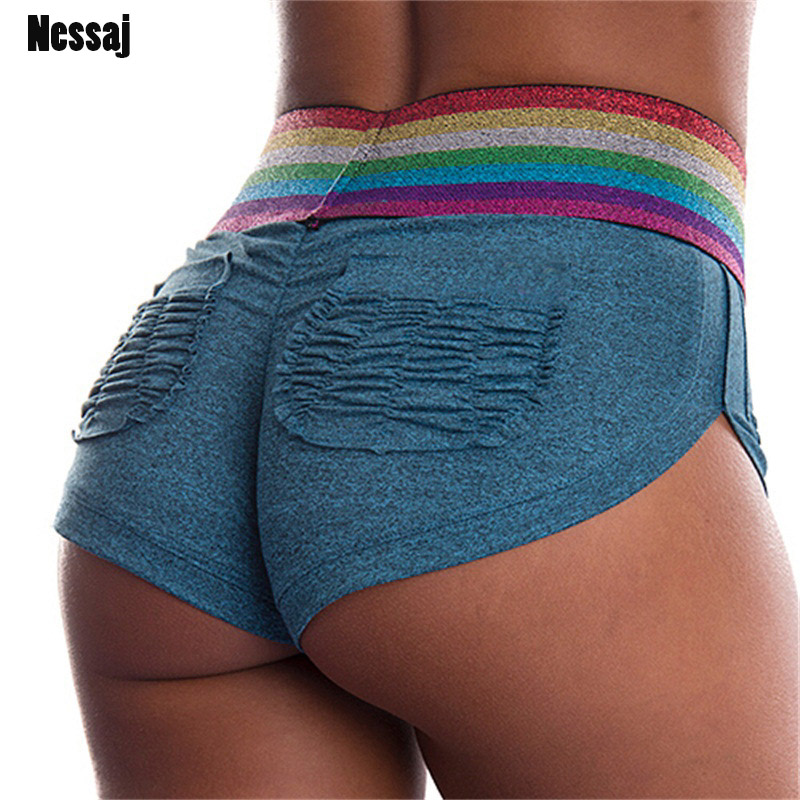 Nessaj New Fold Fashion Rainbow Sequins High Waist Shorts Women Summer Slim Mini Sexy Shorts Fitness Push Up Casual Short Pants