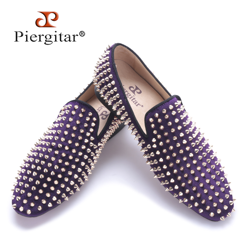 Piergitar 2017 Handmade Purple velvet with gold rivets men loafers Fashion Party and prom somking slippers plus size mens shoes