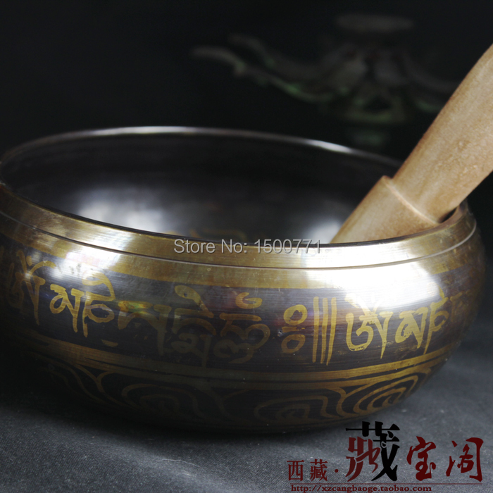 Spécial pour Insolite Tibétain Bronze Doré Grand Diamètre 14.5 cm Tibet Bronze Bol Chantant Bouddha gong