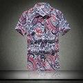 Гавайская Рубашка мужская Мужской Повседневная camisa masculina Печатных Пляж Рубашки С Коротким Рукавом 2016 Новый Бесплатная Доставка Азии SizeM-5XL